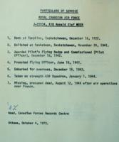 Document – Particulars of Moen's service, LAC, Ottawa.