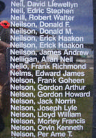 Memorial – Flying Officer Donald Fullerton Neilson is also commemorated on the Bomber Command Memorial Wall in Nanton, AB … photo courtesy of Marg Liessens