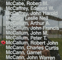 Memorial – Pilot Officer Robert John McCallum is also commemorated on the Bomber Command Memorial Wall in Nanton, AB … photo courtesy of Marg Liessens