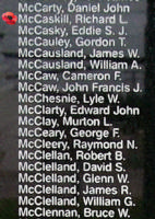 Memorial – Sergeant Richard Llewellyn McCaskill is also commemorated on the Bomber Command Memorial Wall in Nanton, AB … photo courtesy of Marg Liessens