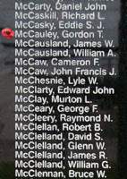 Memorial – Flying Officer Gordon Theodore McCauley is also commemorated on the Bomber Command Memorial Wall in Nanton, AB … photo courtesy of Marg Liessens