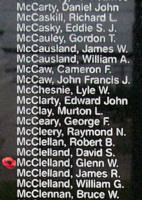Memorial – Flight Sergeant Glenn Wilfred McClelland is also commemorated on the Bomber Command Memorial Wall in Nanton, AB … photo courtesy of Marg Liessens