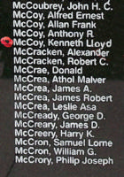 Memorial – Warrant Officer Class II Kenneth Lloyd Douglas McCoy is also commemorated on the Bomber Command Memorial Wall in Nanton, AB … photo courtesy of Marg Liessens