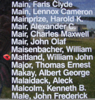 Memorial – Flight Lieutenant William John Maitland is also commemorated on the Bomber Command Memorial Wall in Nanton, AB … photo courtesy of Marg Liessens