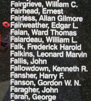 Memorial – Flying Officer Edgar Lloyd Fairweather is also commemorated on the Bomber Command Memorial Wall in Nanton, AB … photo courtesy of Marg Liessens