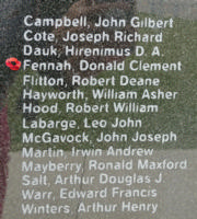 Memorial – Flying Officer Donald Clement Fennah is also commemorated on the Bomber Command Memorial Wall in Nanton, AB … photo courtesy of Marg Liessens