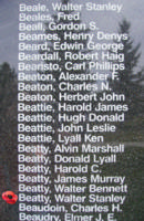 Memorial – Warrant Officer Walter Stanley Beatty is also commemorated on the Bomber Command Memorial Wall in Nanton, AB … photo courtesy of Marg Liessens