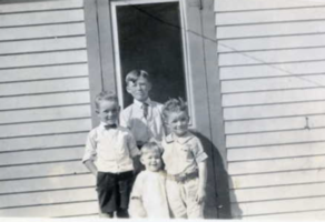 "Photo of JOHN NICHOLSON CAWSEY – L-R John ""Buzz"" Cawsey, Lorne Campbell, Audrey and Robert Cawsey. Submitted for the project, Operation Picture Me"