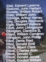 Memorial – Sergeant William Cameron Ellard is also commemorated on the Bomber Command Memorial Wall in Nanton, AB … photo courtesy of Marg Liessens