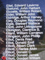 Memorial – Flying Officer Gordon William Elliott is also commemorated on the Bomber Command Memorial Wall in Nanton, AB … photo courtesy of Marg Liessens