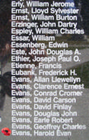 Memorial – Sergeant Harold Evan Evans is also commemorated on the Bomber Command Memorial Wall in Nanton, AB … photo courtesy of Marg Liessens