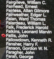 Memorial – Pilot Officer John Fallis is also commemorated on the Bomber Command Memorial Wall in Nanton, AB … photo courtesy of Marg Liessens