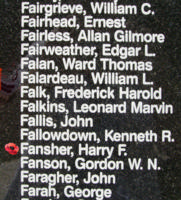 Memorial – Pilot Officer Harry Frederick Fansher is also commemorated on the Bomber Command Memorial Wall in Nanton, AB … photo courtesy of Marg Liessens