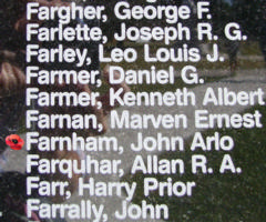 Memorial – Flying Officer John Arlo Farnham is also commemorated on the Bomber Command Memorial Wall in Nanton, AB … photo courtesy of Marg Liessens