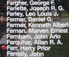 Memorial – Flying Officer Harry Prior Farr is also commemorated on the Bomber Command Memorial Wall in Nanton, AB … photo courtesy of Marg Liessens
