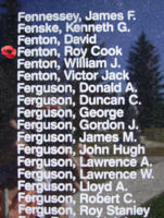 Memorial – Warrant Officer Class II Roy Cook Fenton is also commemorated on the Bomber Command Memorial Wall in Nanton, AB … photo courtesy of Marg Liessens
