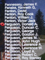 Memorial – Flight Sergeant Donald Alexander Ferguson is also commemorated on the Bomber Command Memorial Wall in Nanton, AB … photo courtesy of Marg Liessens