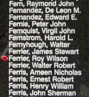 Memorial – Warrant Officer Class II Roy Wilson Ferrier is also commemorated on the Bomber Command Memorial Wall in Nanton, AB … photo courtesy of Marg Liessens