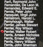 Memorial – Pilot Officer Walter Robert Ferrier is also commemorated on the Bomber Command Memorial Wall in Nanton, AB … photo courtesy of Marg Liessens