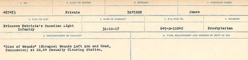 Circumstances of death registers – Source: Library and Archives Canada. CIRCUMSTANCES OF DEATH REGISTERS, FIRST WORLD WAR. Surnames: Dack to Dabate. Microform Sequence 26; Volume Number 31829_B016735. Reference RG150, 1992-93/314, 170. Page 1121 of 1140.