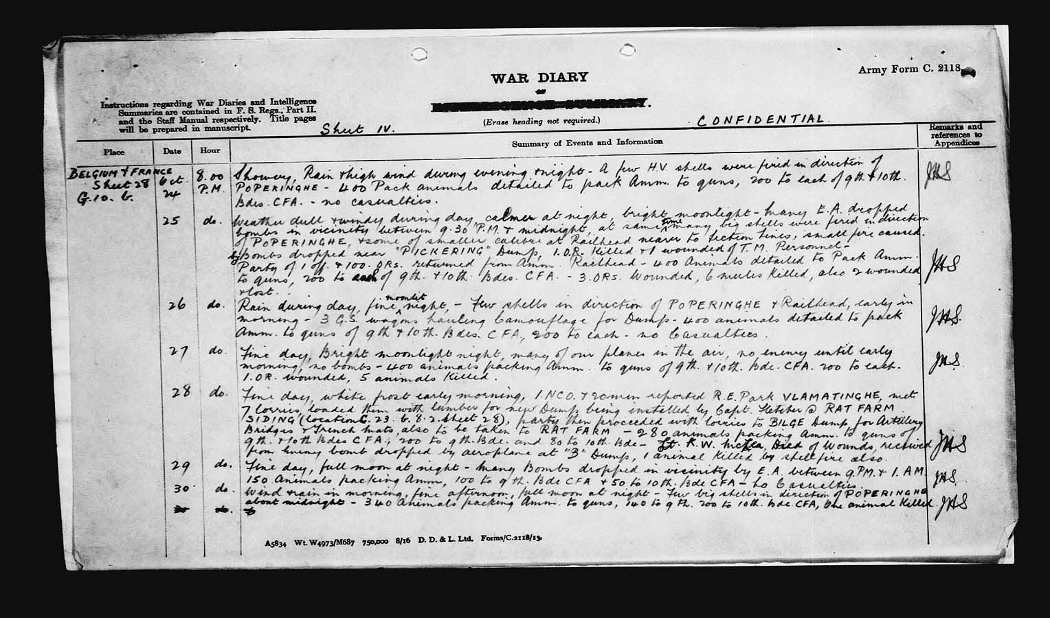 War Diary – War Diary of the 3rd Canadian Divisional Ammunition Column with entry pertaining to Lieutenant K.W. McLea.