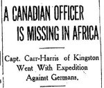 Newspaper Clipping – From the Toronto Star for 11 November 1914.