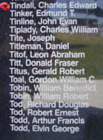Memorial – Flying Officer Charles Edward Tindall is commemorated on the Bomber Command Memorial Wall in Nanton, AB … photo courtesy of Marg Liessens