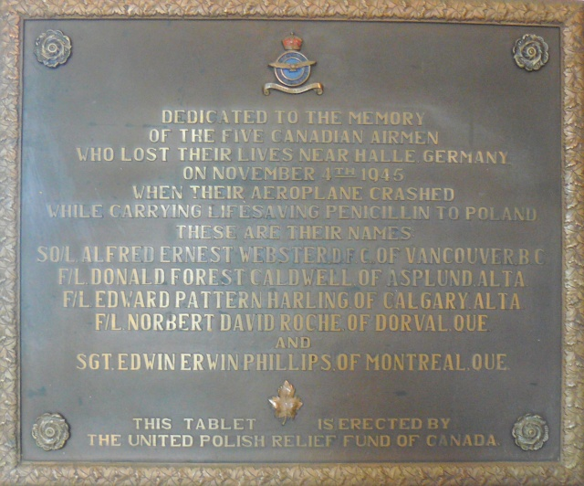 Memorial Plaque – Memorial plaque crew lost fall 1945 mercy flight to Poland