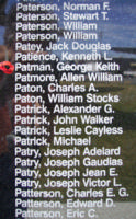Memorial – Pilot Officer George Keith Patman is commemorated on the Bomber Command Memorial Wall in Nanton, AB … photo courtesy of Marg Liessens