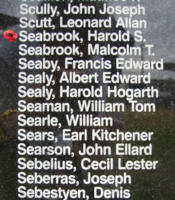 Memorial – Flight Sergeant Harold Stanley Seabrook is commemorated on the Bomber Command Memorial Wall in Nanton, AB … photo courtesy of Marg Liessens