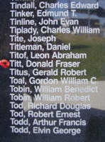 Memorial – Sergeant Donald Fraser Titt is commemorated on the Bomber Command Memorial Wall in Nanton, AB … photo courtesy of Marg Liessens