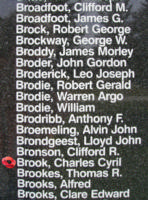 Memorial – Sergeant Charles Cyril Brook is also commemorated on the Bomber Command Memorial Wall in Nanton, AB … photo courtesy of Marg Liessens