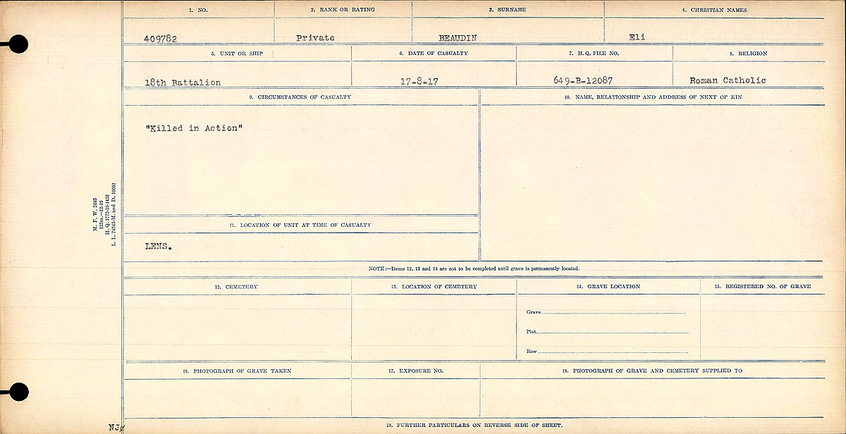 """Circumstances of Death Registers – Circumstances of Death Register: """"Killed in Action"""""""