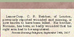 Newspaper Clipping – Cecil R. Belcher enlisted in London, Ontario, on September 7th, 1915.  His brother was Norman Wilfred Belcher, 226048, who enlisted in London, Ontario, on October 23rd, 1915.