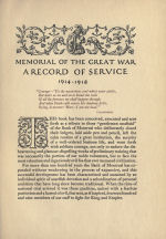 Record of Service – Memorial from the Great War 1914-1918: a record of service published by the Bank of Montreal 1921.