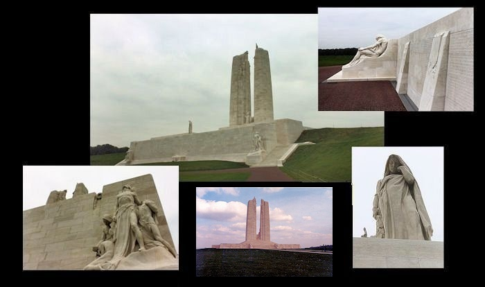 Collage – Canada's Vimy Memorial, located approximately 8 kilometres to the north-east of Arras, France. May the sacrifice of so many never be forgotten. (J. Stephens)