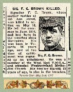Newspaper Clipping – Pte. Frederick James Brown's name was misprinted in this newspaper article.  His identity may be confirmed by his military attestation which includes the Ann street address.