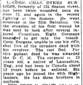 Photo of CHARLES DYKES BURGESS – In memory of the members of the 15th, 92nd and 134th Battalions (48th Highlanders) who went to war and did not return. Submitted by the 48th Highlanders Museum 73 Simcoe St. Toronto for the project, Operation: Picture Me.