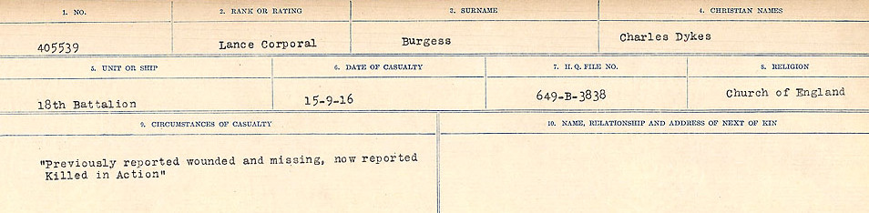 Circumstances of Death Registers – Source: Library and Archives Canada.  CIRCUMSTANCES OF DEATH REGISTERS, FIRST WORLD WAR Surnames:  Burbank to Bytheway. Microform Sequence 16; Volume Number 31829_B016725. Reference RG150, 1992-93/314, 160.  Page 105 of 926.