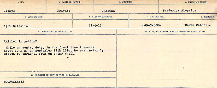 Circumstances of Death Registers – Source: Library and Archives Canada.  CIRCUMSTANCES OF DEATH REGISTERS, FIRST WORLD WAR Surnames:  Catchpole to Chignell. Microform Sequence 19; Volume Number 31829_B016728. Reference RG150, 1992-93/314, 165. Page 907 of 958.