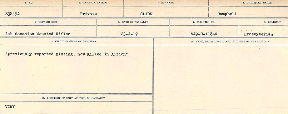 Circumstances of Death Registers – Source: Library and Archives Canada.  CIRCUMSTANCES OF DEATH REGISTERS, FIRST WORLD WAR Surnames:  CHILD TO CLAYTON.  Microform Sequence 20; Volume Number 31829_B016729. Reference RG150, 1992-93/314, 164.  Page of 485 of 1068.
