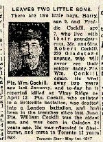 Newspaper Clipping – Pte. William Cokell was a widower when he enlisted in the Canadian army.  His surname was misspelled in this article.