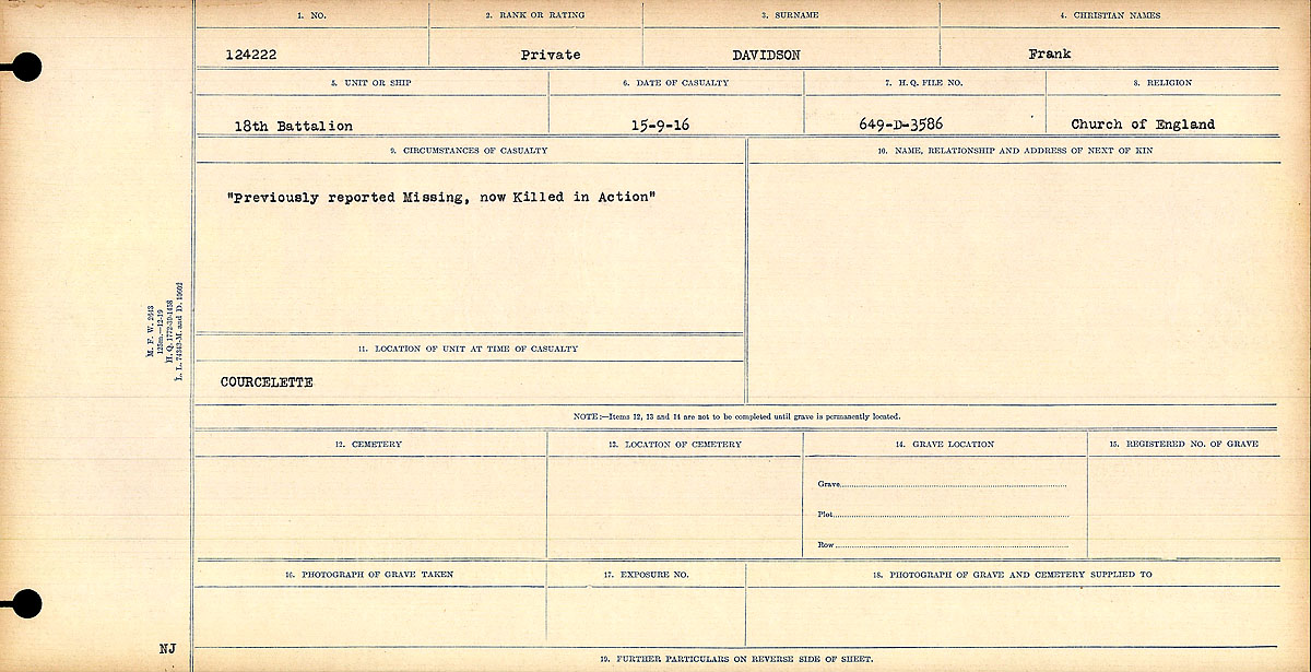 "Circumstance of death – Circumstances of Death Card: ""Previously reported Missing, Now Killed in Action"" Courcelette"