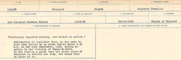 Circumstances of death registers – Source: Library and Archives Canada. CIRCUMSTANCES OF DEATH REGISTERS, FIRST WORLD WAR. Surnames: Don to Drzewiecki. Microform Sequence 29; Volume Number 31829_B016738. Reference RG150, 1992-93/314, 173. Page 861 of 1076.