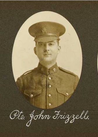 Photo of JOHN FRIZZELL – In memory of the employees of the T. Eaton Company that went to war and did not come home.  Submitted for the project, Operation: Picture Me