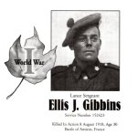 Memorial Page – Ellis Gibbons is honoured on page 95 of the Gananoque Remembers booklet, published on January 31, 2005.