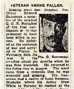 Newspaper Clipping – Pte. Oliver Edward Gonneau was a member of the 1st Contingent, Canadian Expeditionary Force.  He enlisted at Camp Valcartier, Quebec, on September 22nd, 1914.