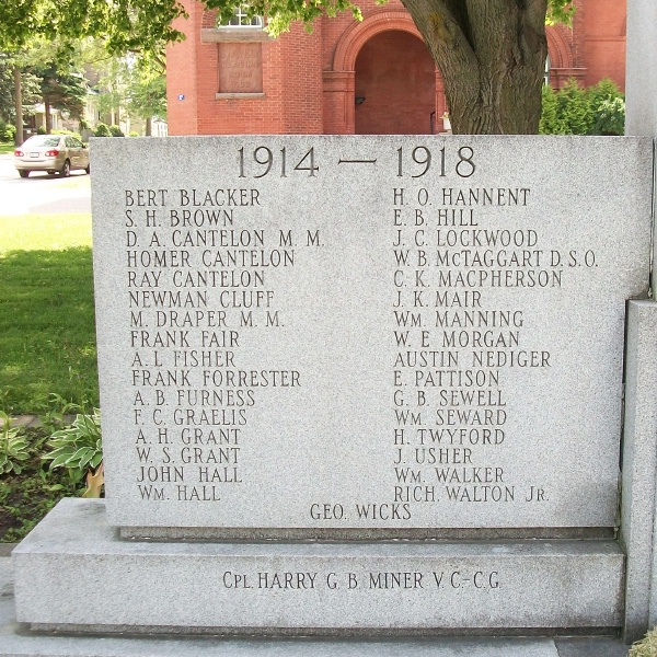 Clinton War Memorial – Private Frank Clifford Grealis is also commemorated on the Memorial in Clinton, ON … First World War names … Photo courtesy of Marg Liessens
