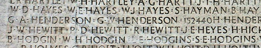 Inscription – His name as it is inscribed on the Vimy Memorial. Over 11,000 fallen Canadians having no known place of burial in France, are honoured on this Memorial. May they never be forgotten. (J. Stephens)