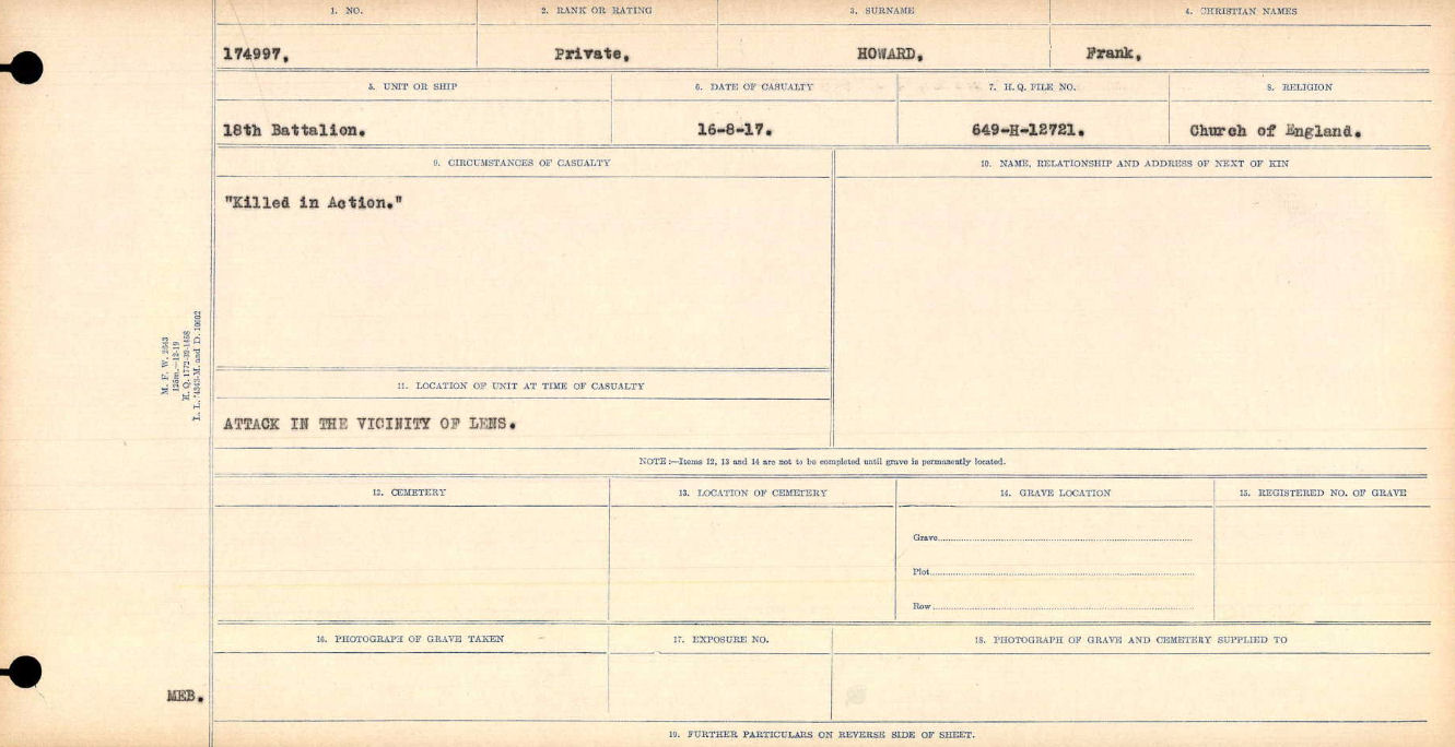 """Circumstances of Death Registers – """"Killed in Action""""  Title:Circumstances of Death Registers, First World War Mikan record:46246 Volume Number:31829_B016693 Page:391 Contributed by E.Edwards www.18thbattalioncef.wordpress.com"""